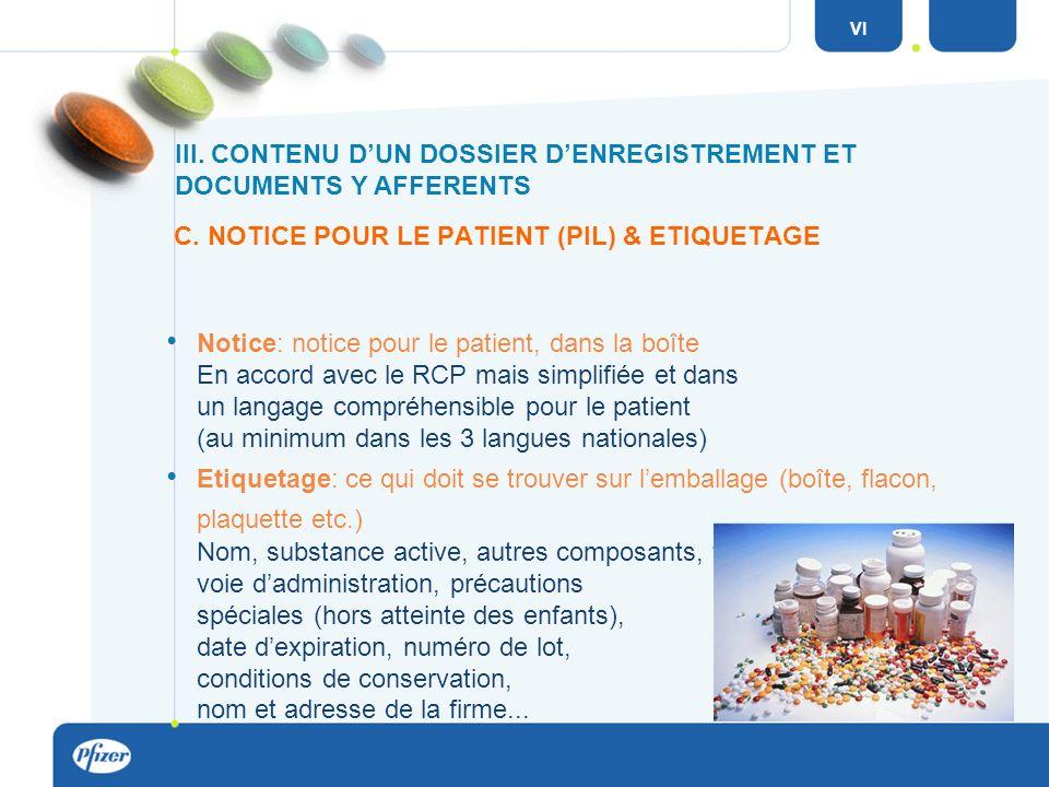 C. NOTICE POUR LE PATIENT (PIL) & ETIQUETAGE