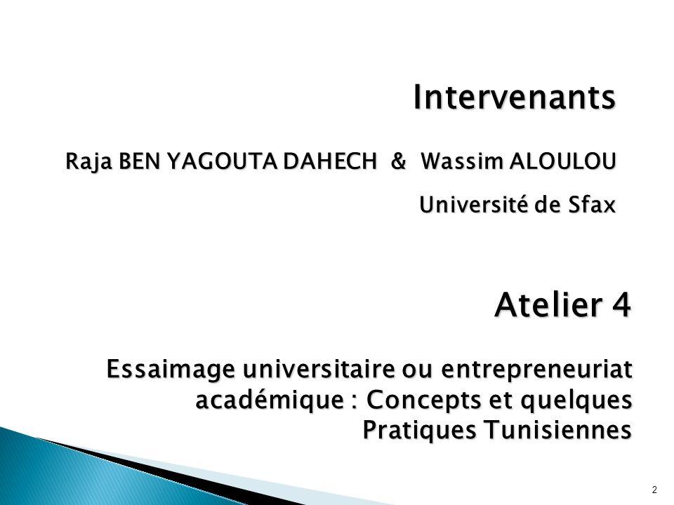 Intervenants Raja BEN YAGOUTA DAHECH & Wassim ALOULOU. Université de Sfax. Atelier 4.