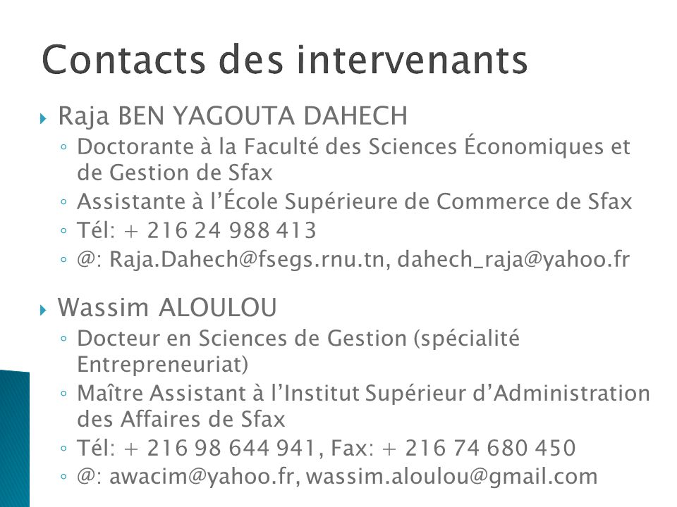 Contacts des intervenants