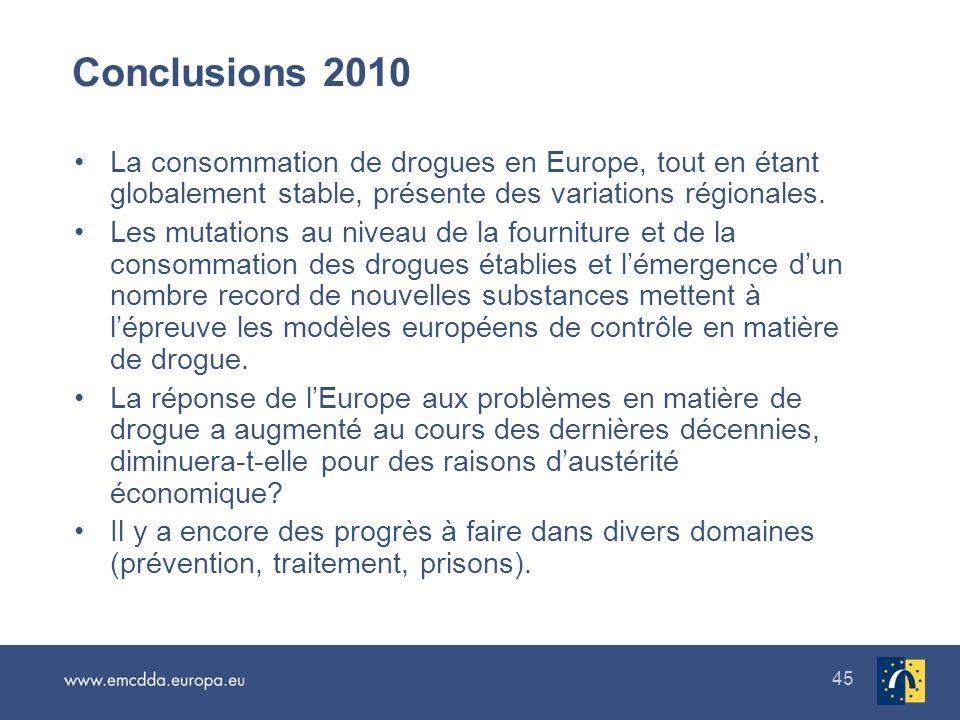 Conclusions 2010 La consommation de drogues en Europe, tout en étant globalement stable, présente des variations régionales.