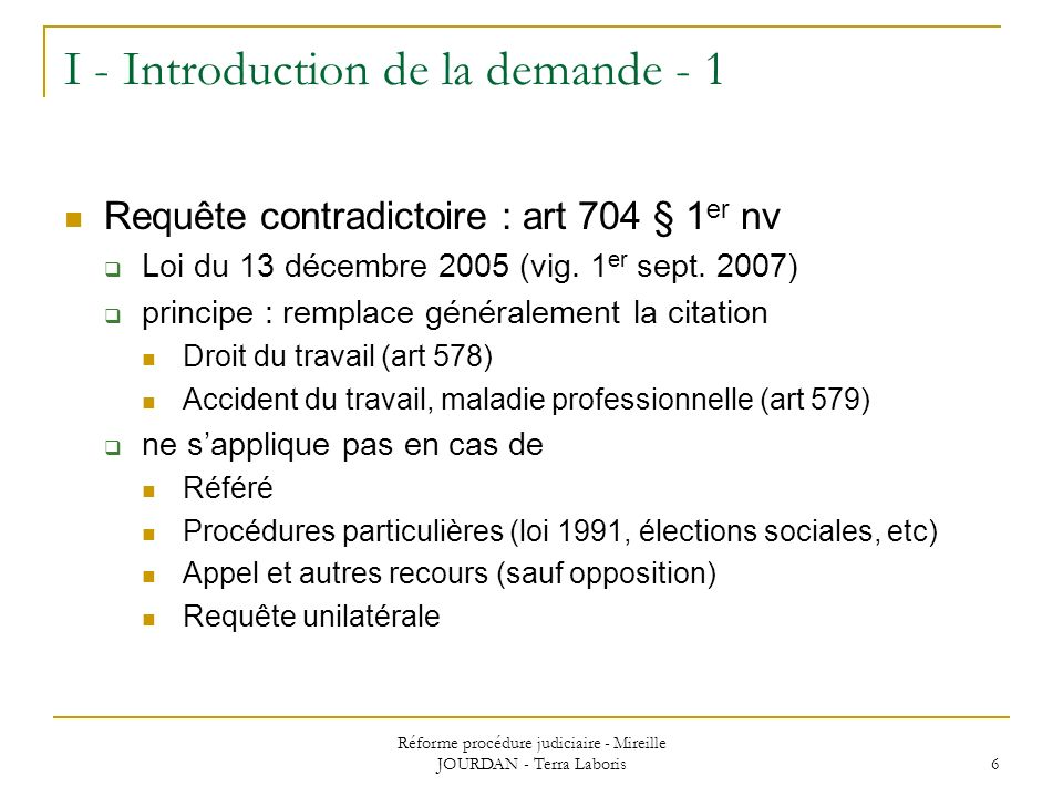 I - Introduction de la demande - 1