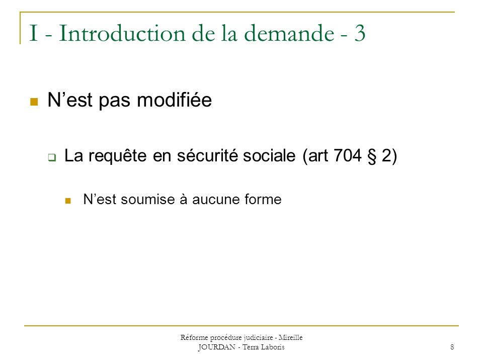 I - Introduction de la demande - 3