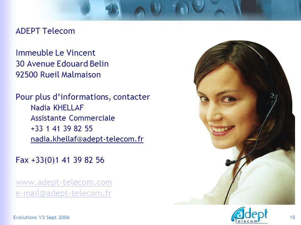 Pour plus d'informations, contacter