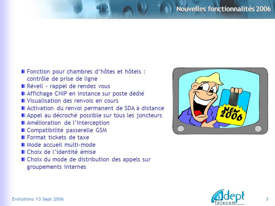 Nouvelles fonctionnalités 2006