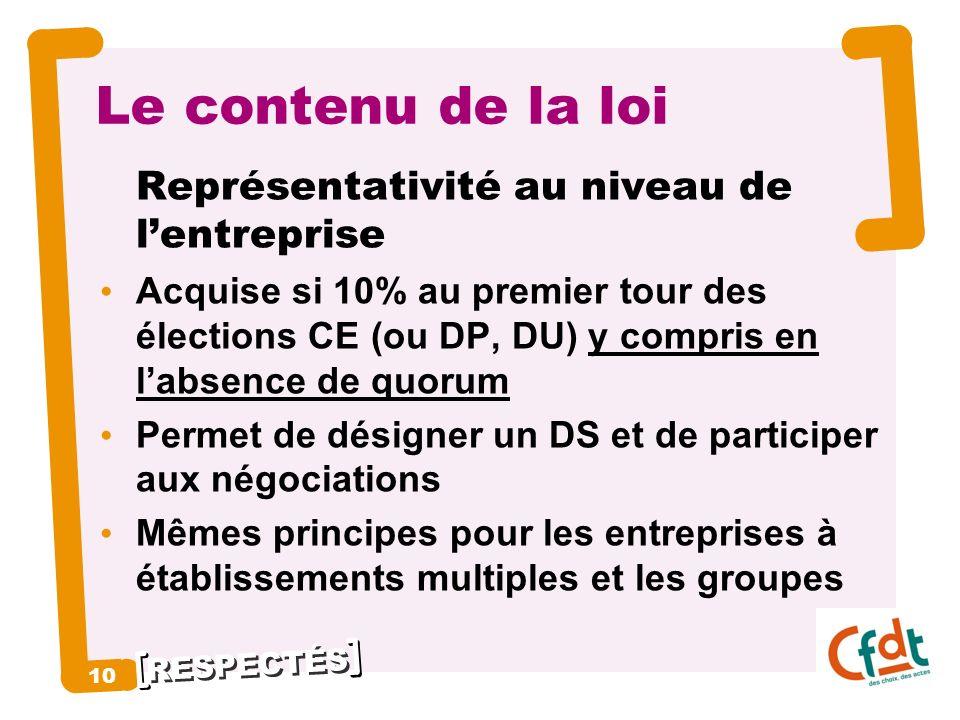Le contenu de la loi Représentativité au niveau de l'entreprise