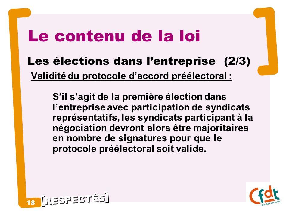 Le contenu de la loi Les élections dans l'entreprise (2/3) 18