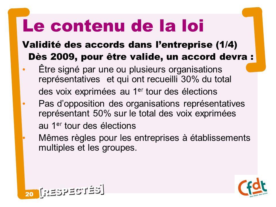 Le contenu de la loi 20 Validité des accords dans l'entreprise (1/4)