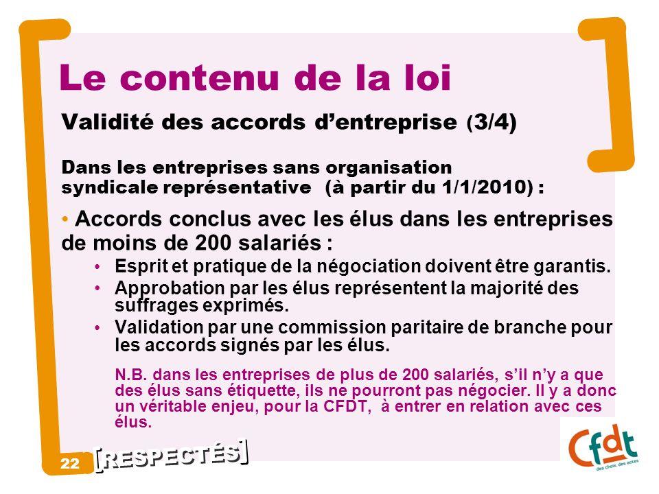 Le contenu de la loi 22 Validité des accords d'entreprise (3/4)