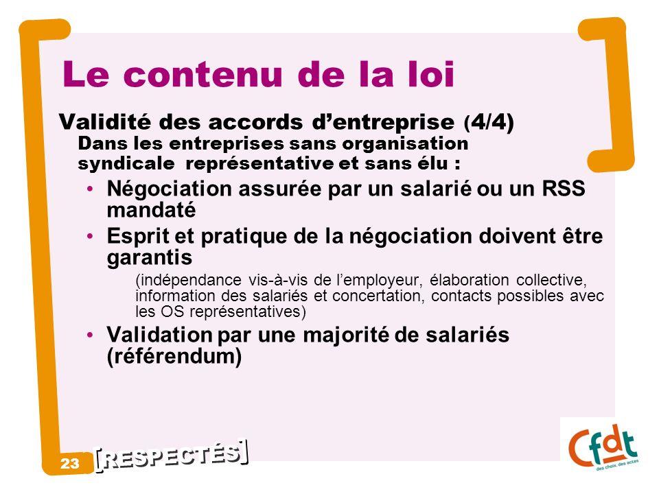 Le contenu de la loi 23 Validité des accords d'entreprise (4/4)