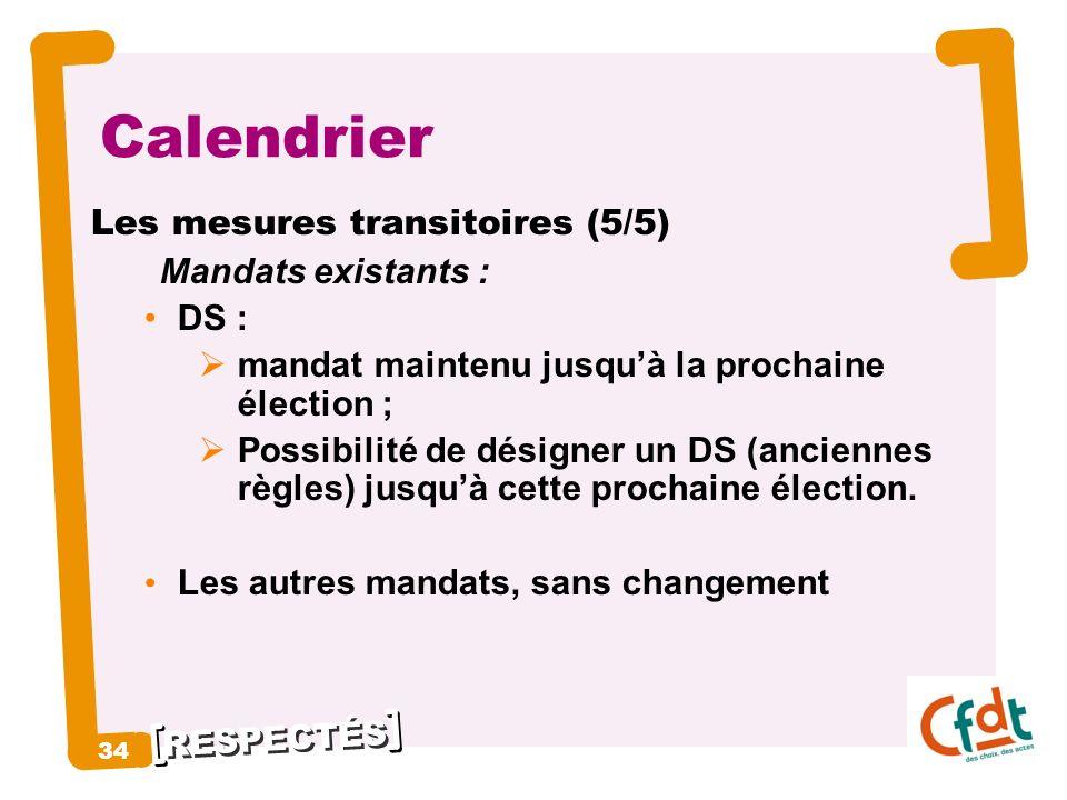 Calendrier 34 Les mesures transitoires (5/5) Mandats existants : DS :