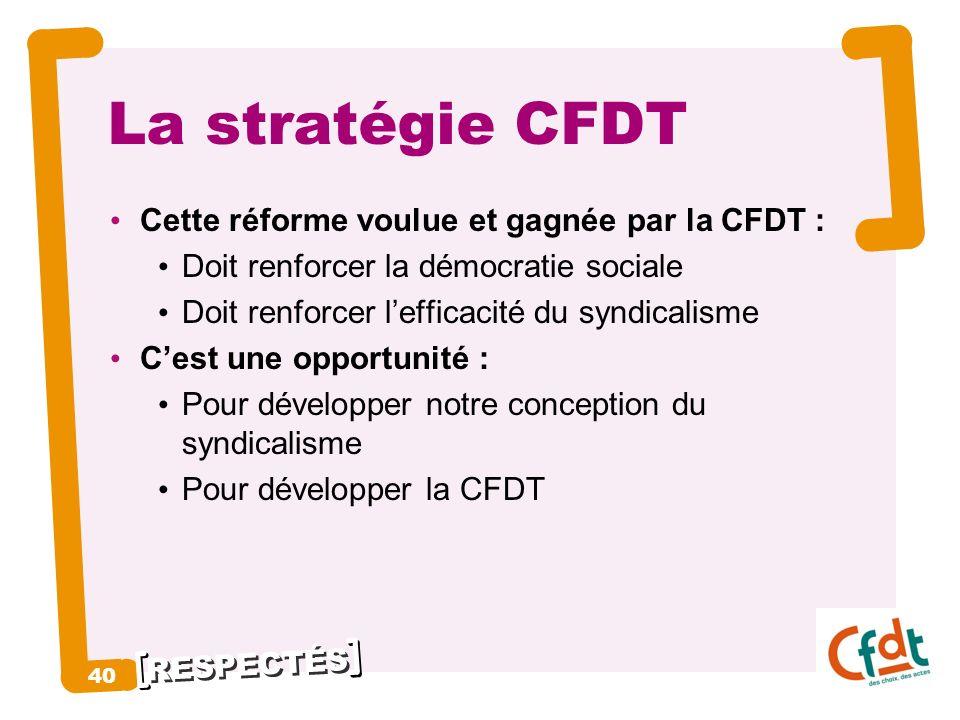 La stratégie CFDT 40 Cette réforme voulue et gagnée par la CFDT :
