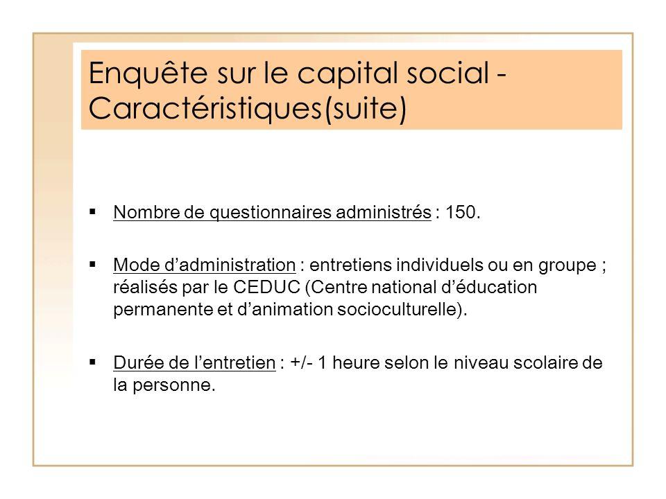 Enquête sur le capital social - Caractéristiques(suite)