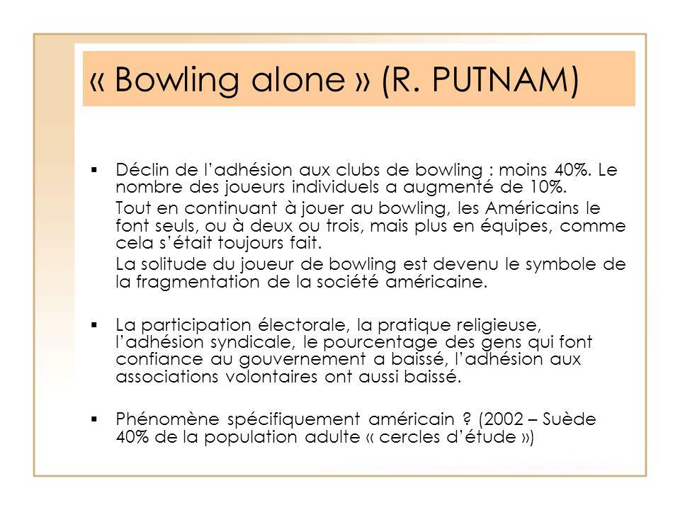 « Bowling alone » (R. PUTNAM)