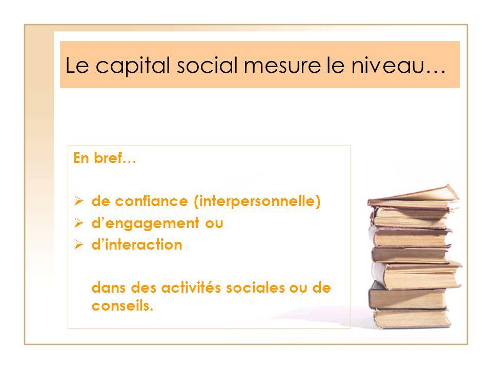 Le capital social mesure le niveau…