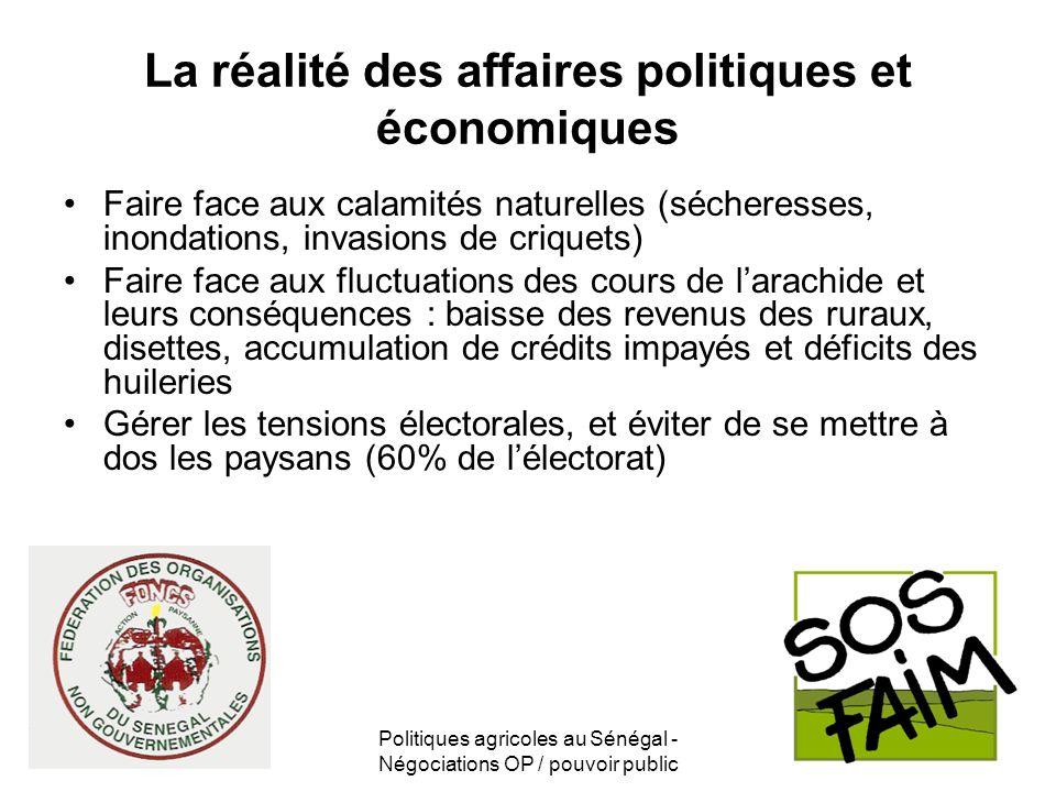 La réalité des affaires politiques et économiques