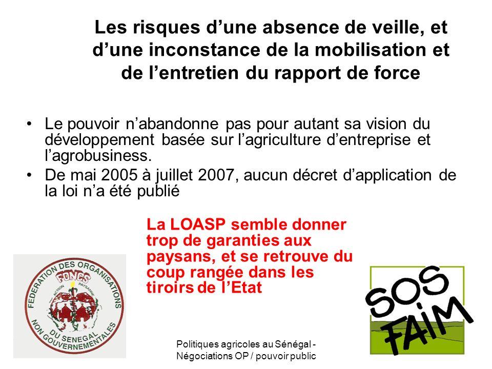 Politiques agricoles au Sénégal - Négociations OP / pouvoir public