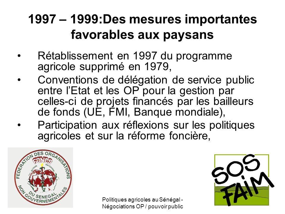 1997 – 1999:Des mesures importantes favorables aux paysans