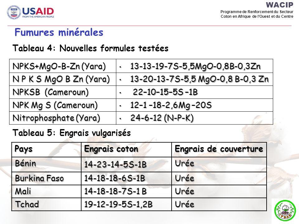 Fumures minérales Tableau 4: Nouvelles formules testées
