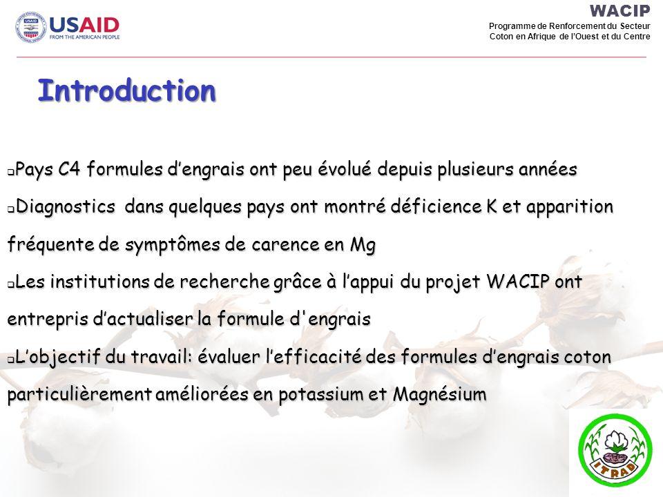WACIP Programme de Renforcement du Secteur Coton en Afrique de l'Ouest et du Centre. Introduction.