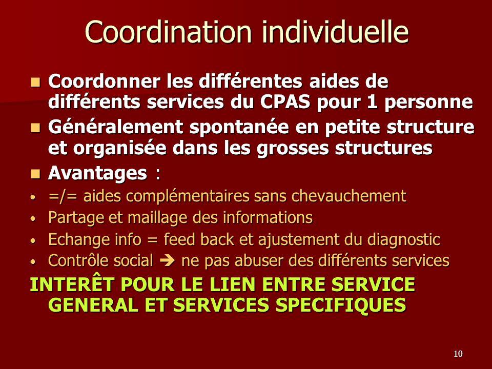 Coordination individuelle