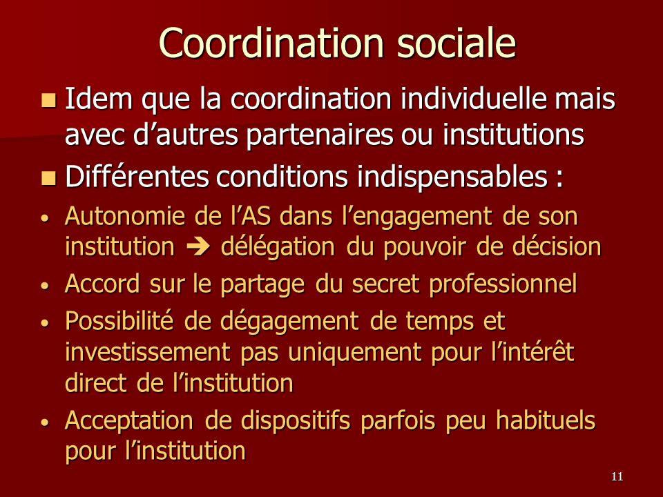 Coordination sociale Idem que la coordination individuelle mais avec d'autres partenaires ou institutions.