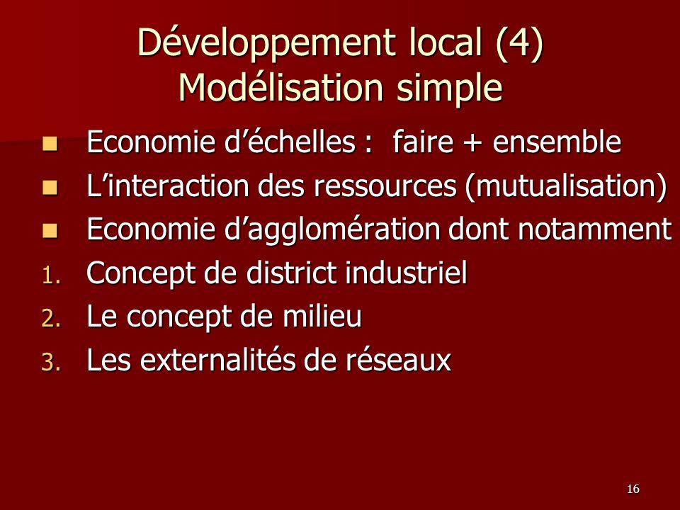 Développement local (4) Modélisation simple