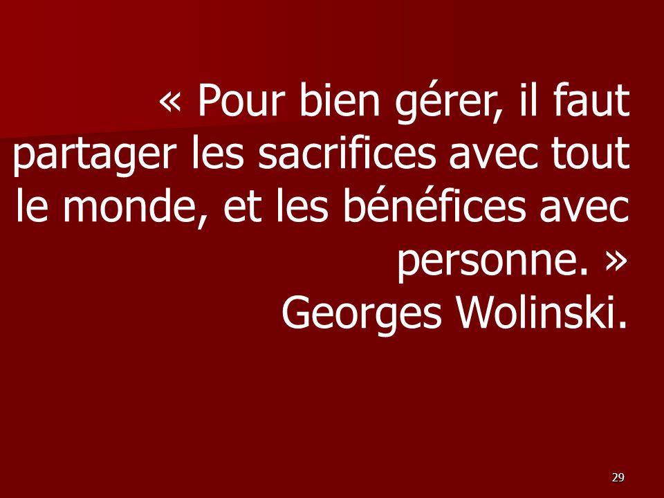 « Pour bien gérer, il faut partager les sacrifices avec tout le monde, et les bénéfices avec personne. » Georges Wolinski.