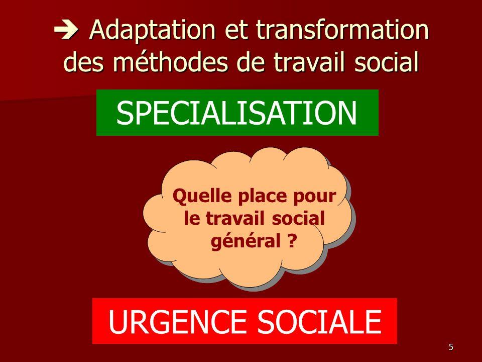  Adaptation et transformation des méthodes de travail social