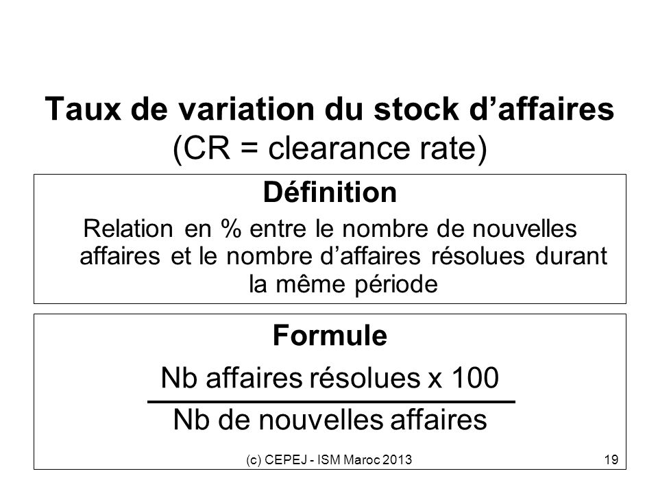 Taux de variation du stock d'affaires (CR = clearance rate)