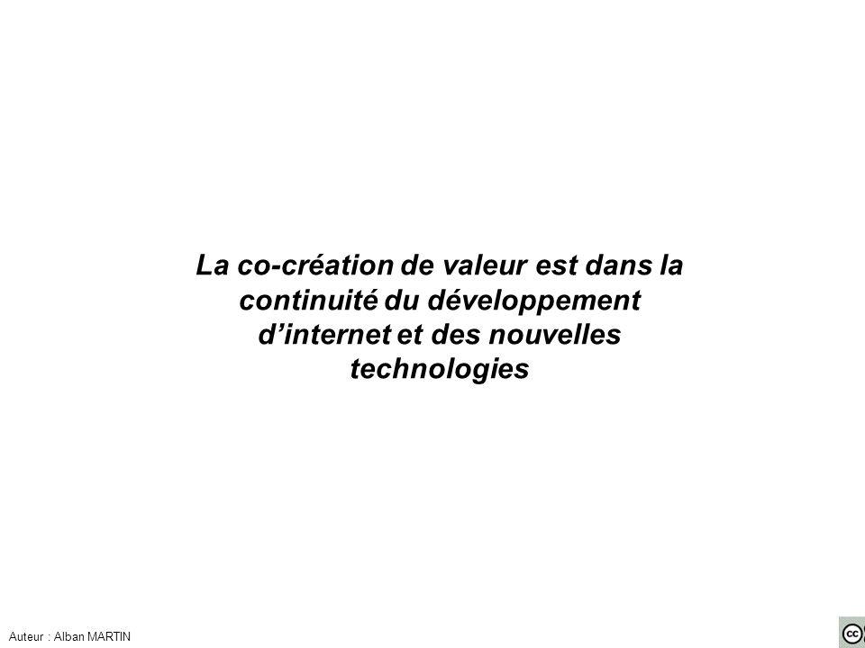 La co-création de valeur est dans la continuité du développement d'internet et des nouvelles technologies