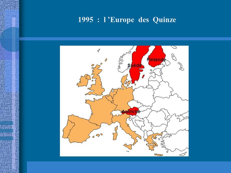 1995 : l 'Europe des Quinze Finlande Suède Autriche
