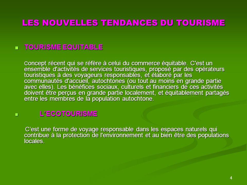 LES NOUVELLES TENDANCES DU TOURISME
