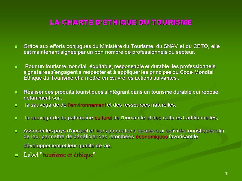 LA CHARTE D'ETHIQUE DU TOURISME
