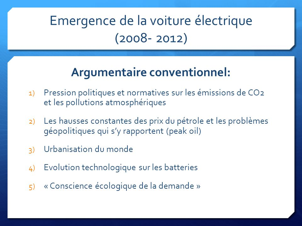 Emergence de la voiture électrique (2008- 2012)