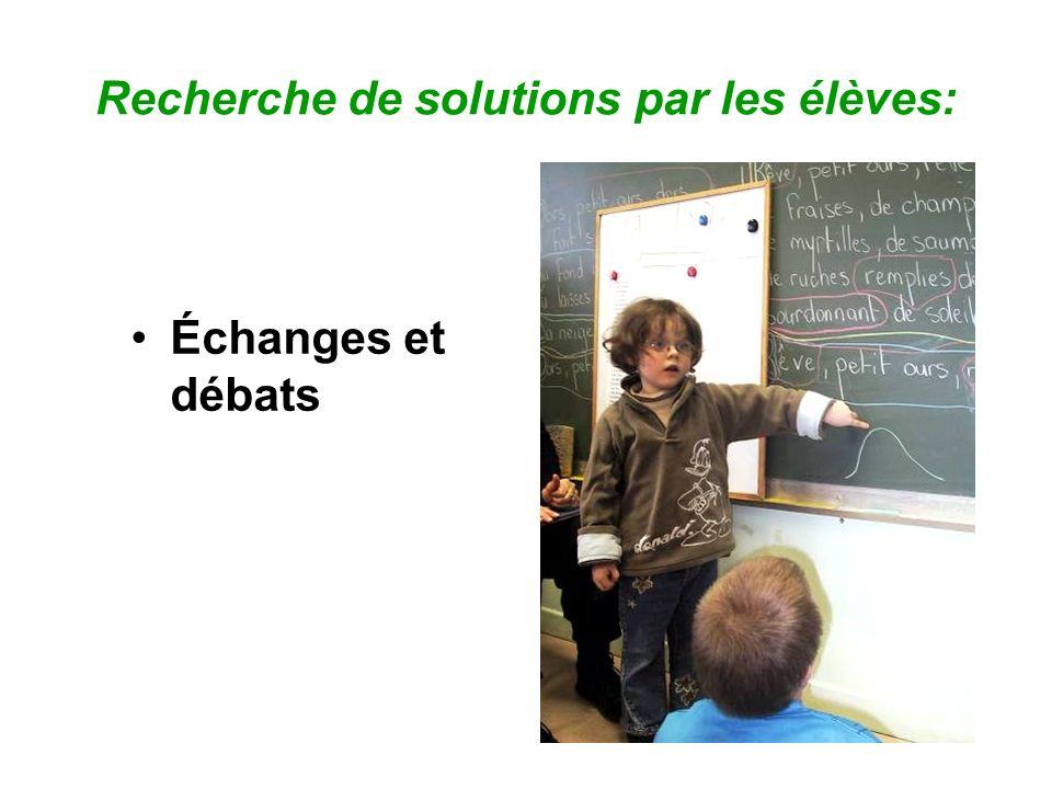 Recherche de solutions par les élèves: