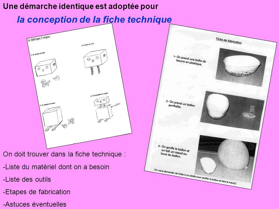 Une démarche identique est adoptée pour la conception de la fiche technique