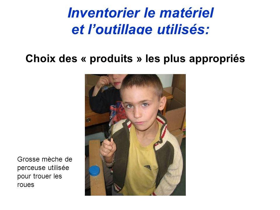 Inventorier le matériel et l'outillage utilisés: