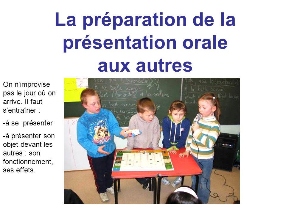 La préparation de la présentation orale aux autres