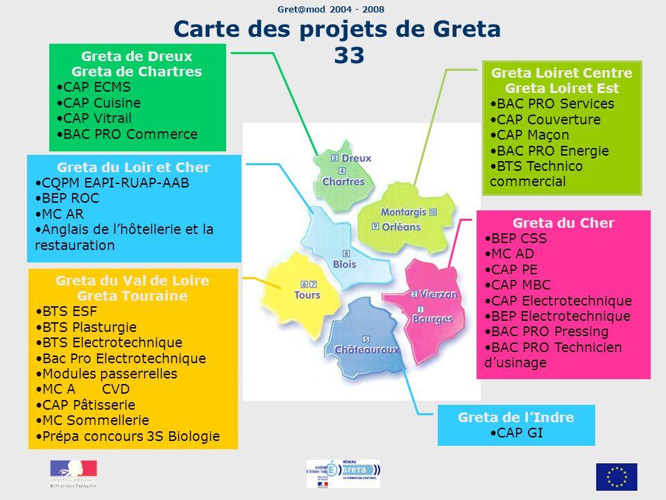 Carte des projets de Greta 33