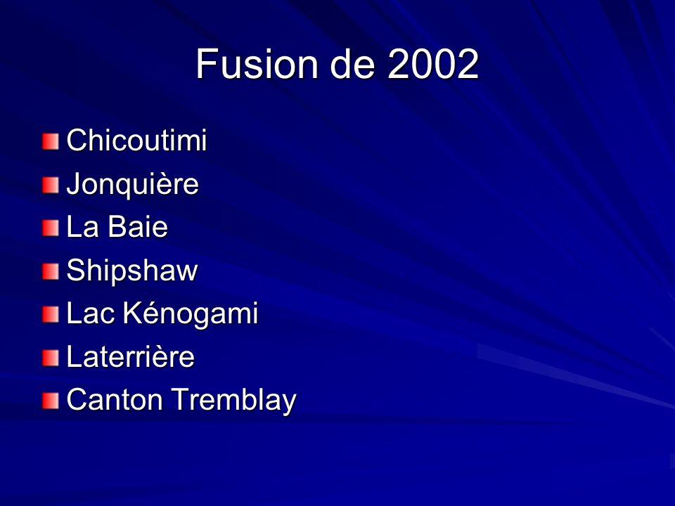 Fusion de 2002 Chicoutimi Jonquière La Baie Shipshaw Lac Kénogami
