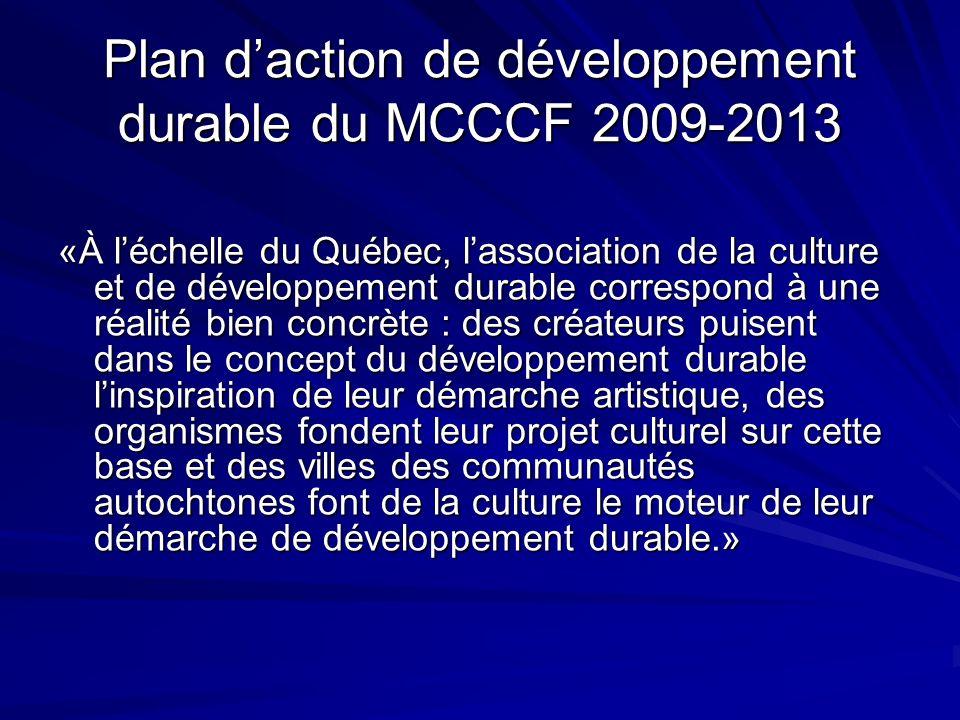 Plan d'action de développement durable du MCCCF 2009-2013