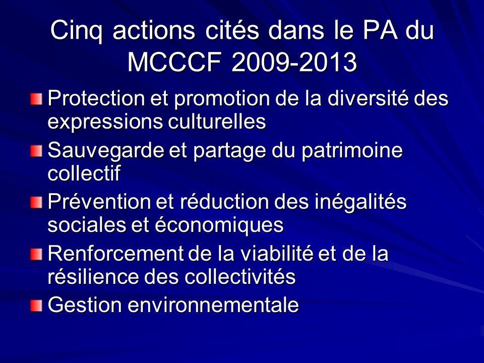Cinq actions cités dans le PA du MCCCF 2009-2013