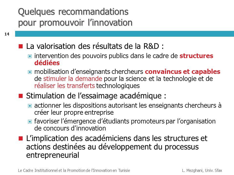 Quelques recommandations pour promouvoir l'innovation