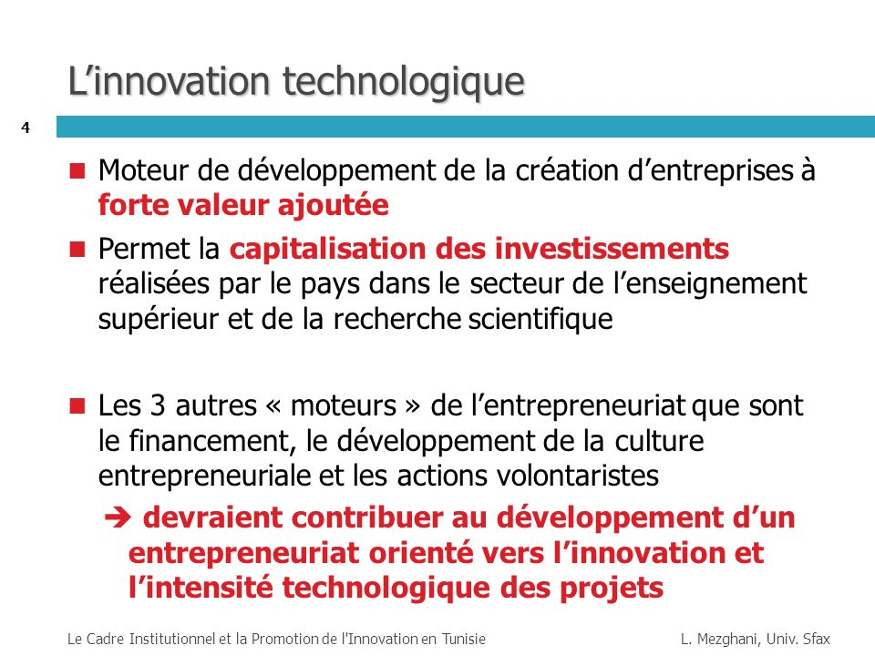 L'innovation technologique