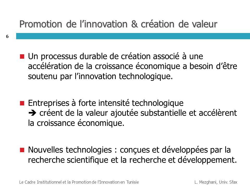 Promotion de l'innovation & création de valeur