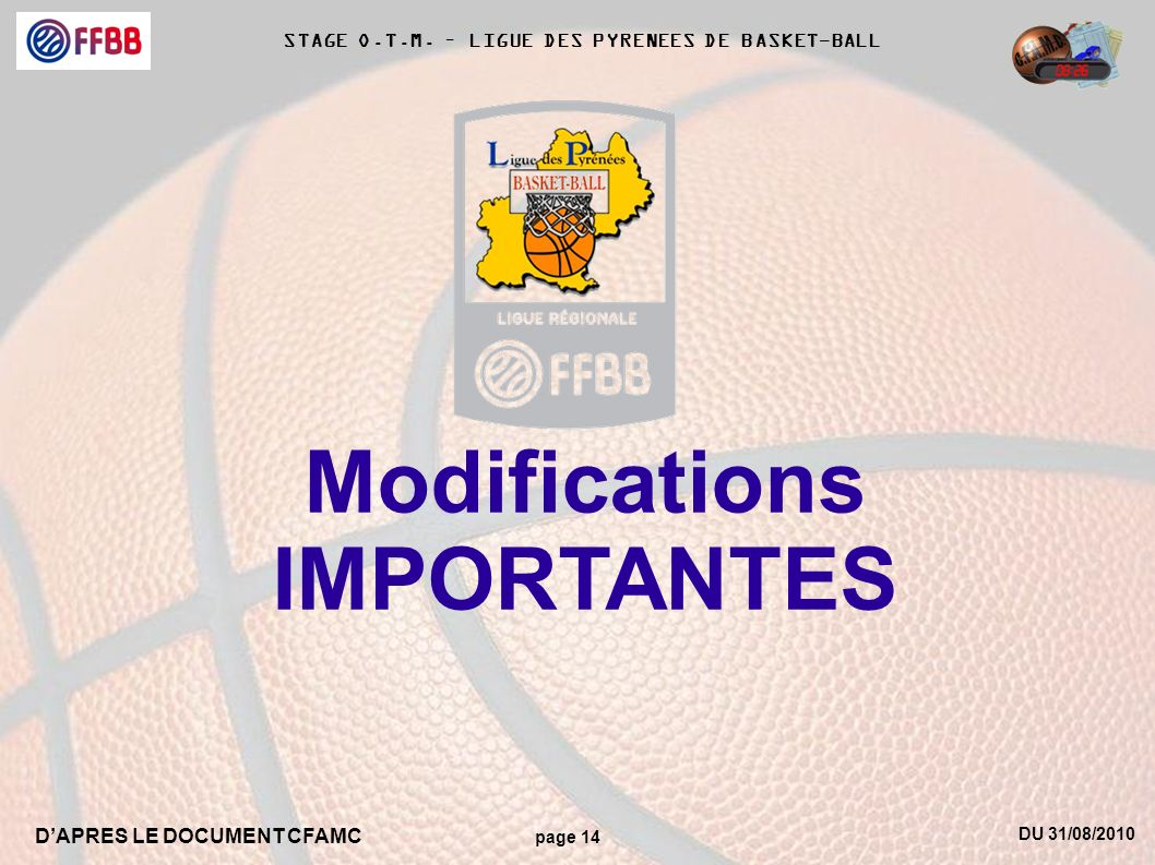 Modifications IMPORTANTES