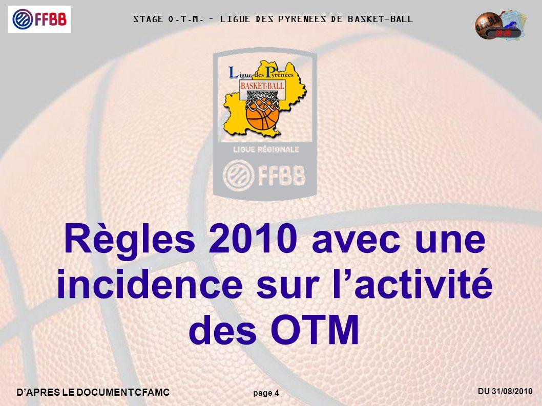 Règles 2010 avec une incidence sur l'activité des OTM