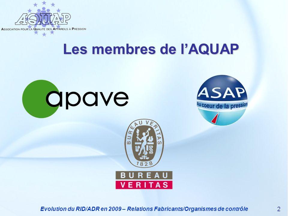 Les membres de l'AQUAP Evolution du RID/ADR en 2009 – Relations Fabricants/Organismes de contrôle