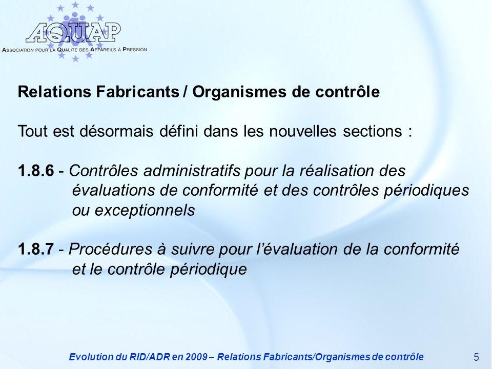 Relations Fabricants / Organismes de contrôle