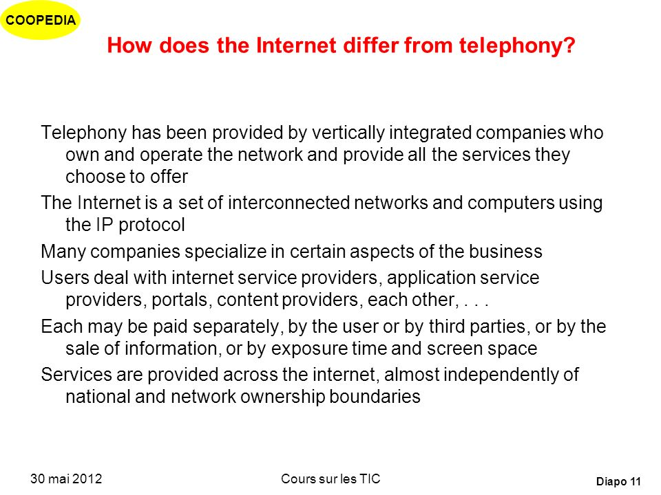 How does the Internet differ from telephony
